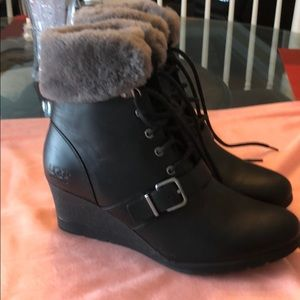 Black and gray UGG Wedge Boots